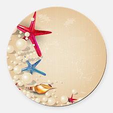 Decorative Summer Beach Sand Shel Round Car Magnet