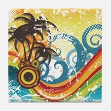 Funky Abstract Palm Waves Beach Grung Tile Coaster