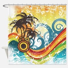 Funky Abstract Palm Waves Beach Gru Shower Curtain