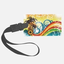 Funky Abstract Palm Waves Beach Luggage Tag