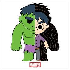 Chibi Hulk Half-and-Half Wall Art Poster