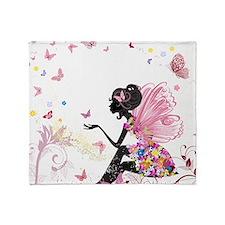 Whimsical Pink Flower Fairy Girl But Throw Blanket