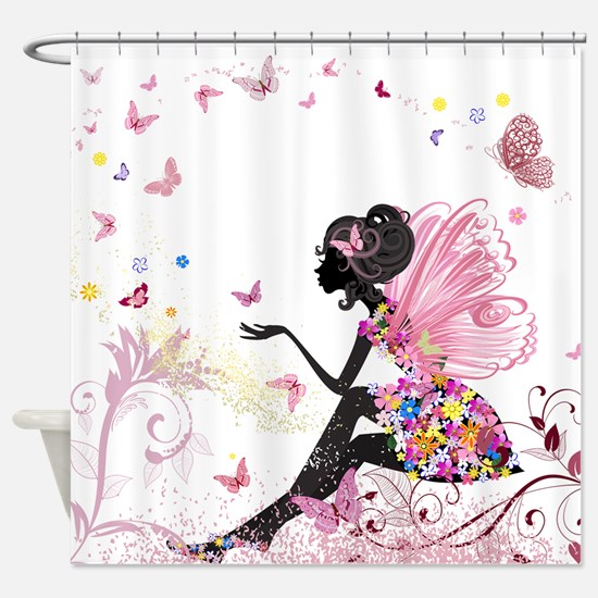 Whimsical Pink Flower Fairy Girl Bu Shower Curtain