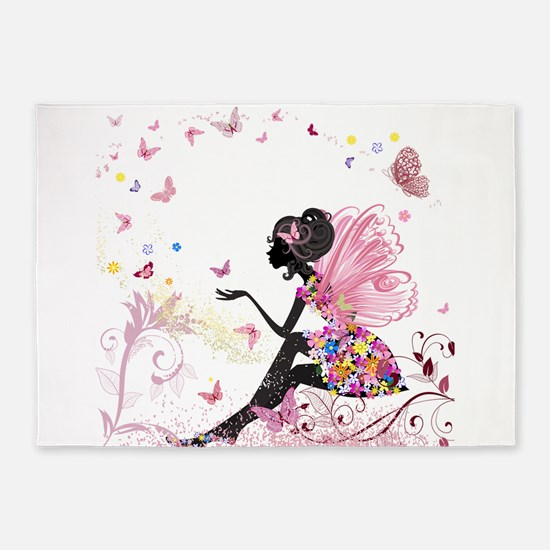 Whimsical Pink Flower Fairy Girl Bu 5'x7'Area Rug