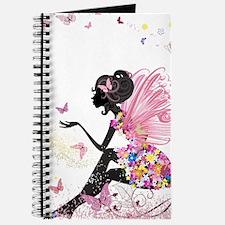 Whimsical Pink Flower Fairy Girl Butterfli Journal