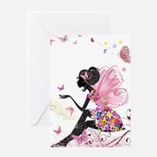 Whimsical Pink Flower Fairy Girl Bu Greeting Cards