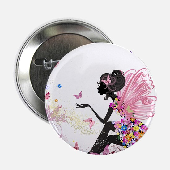 "Whimsical Pink Flower Fairy 2.25"" Button (10 pack)"
