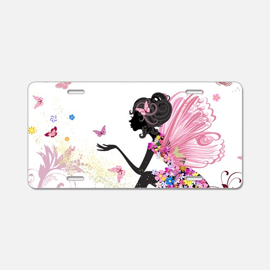 Whimsical Pink Flower Fairy Aluminum License Plate