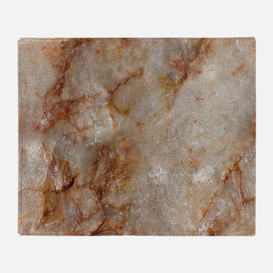 Realistic Brown Faux Marble Stone Pa Throw Blanket