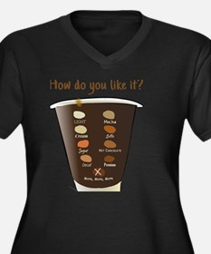 Coffee—How D Women's Plus Size V-Neck Dark T-Shirt