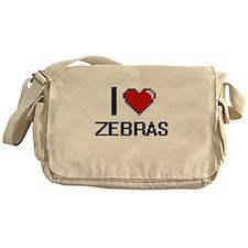 I love Zebras Digital Design Messenger Bag
