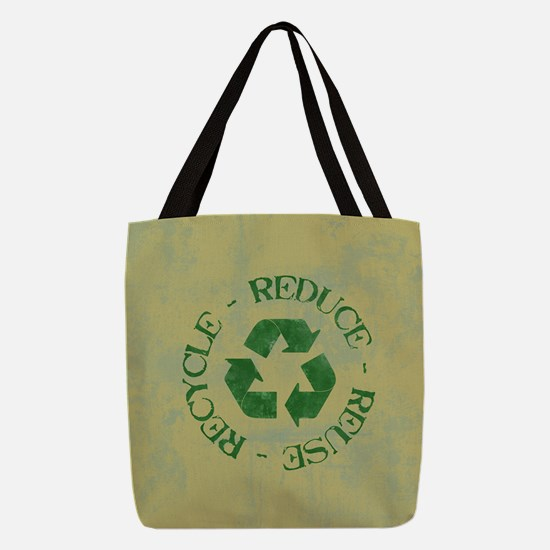 Distressed Reduce Reuse Recycle Polyester Tote Bag