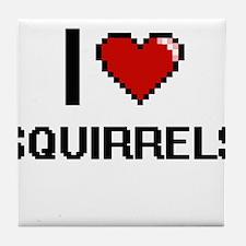 I love Squirrels Digital Design Tile Coaster