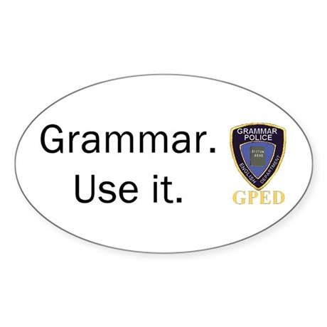 Grammar Police Oval Sticker