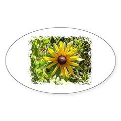 WILD DAISY FLOWER Oval Decal