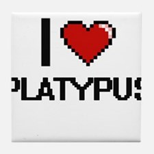 I love Platypus Digital Design Tile Coaster