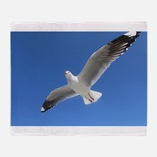 Seagull Flies Throw Blanket