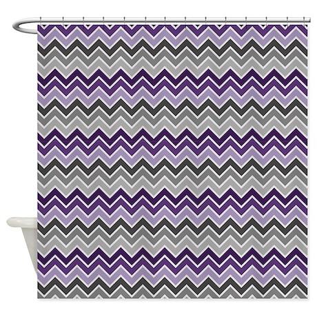 Purple And Gray Chevron Shower Curtain