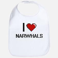 I love Narwhals Digital Design Bib