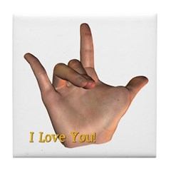 Tile Coaster - I Love You Hand