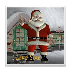 Tile Coaster - Santa I Love You