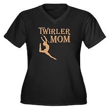 TWIRLER MOM Women's Plus Size V-Neck Dark T-Shirt