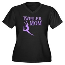 TWIRLER MOM Women's Plus Size V-Neck Dark T-Shirt
