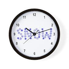 Snow Flake Text Wall Clock