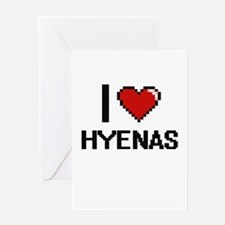 I love Hyenas Digital Design Greeting Cards