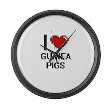 I love Guinea Pigs Digital Design Large Wall Clock