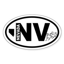 Nevada Mustang and Map Oval Decal