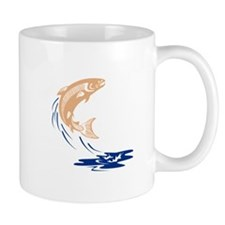Atlantic Salmon Fish Jumping Water Isolated Mugs