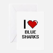 I love Blue Sharks Digital Design Greeting Cards