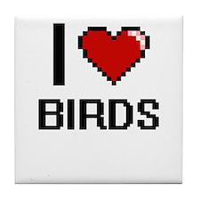 I love Birds Digital Design Tile Coaster