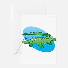 Cute Swimming Crocodile/Alligator Greeting Card
