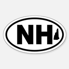 New Hampshire Map Oval Decal