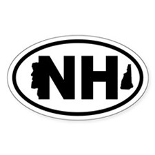 New Hampshire Old Man and Map Oval Decal