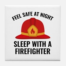 Sleep With A Firefighter Tile Coaster