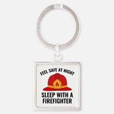 Sleep With A Firefighter Square Keychain