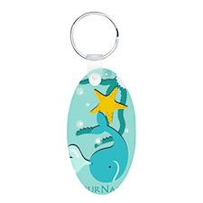 Cute Aqua Whale Beach Theme Keychains
