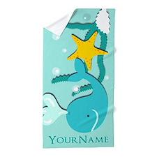 Cute Aqua Whale Beach Theme Personaliz Beach Towel