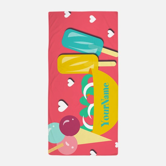 Cute Summer Theme Ice Cream Personaliz Beach Towel
