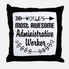 World's Most Awesome Administrative W Throw Pillow