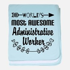 World's Most Awesome Administrative W baby blanket