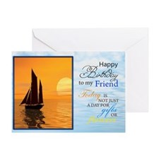 A birthday card for a friend. A yacht sailing. Gre