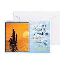 A birthday card for a grandson. A yacht sailing.A