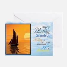 A birthday card for a grandson. A yacht sailing.A