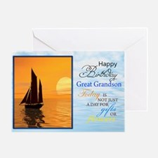 A birthday card for a great grandson. A yacht sa G