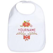 Personalized Name Cute Floral Bib