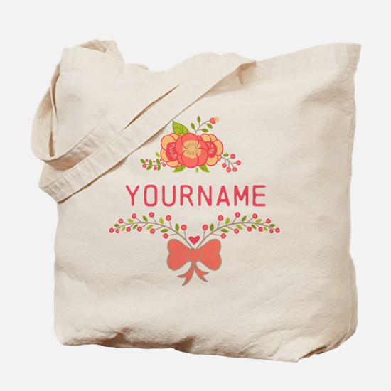 Personalized Name Cute Floral Tote Bag